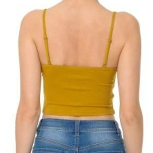 Ambiance Tops - AMBIANCE|BUTTON-FRONT V-NECK CAMI SHIRRED CROP TOP